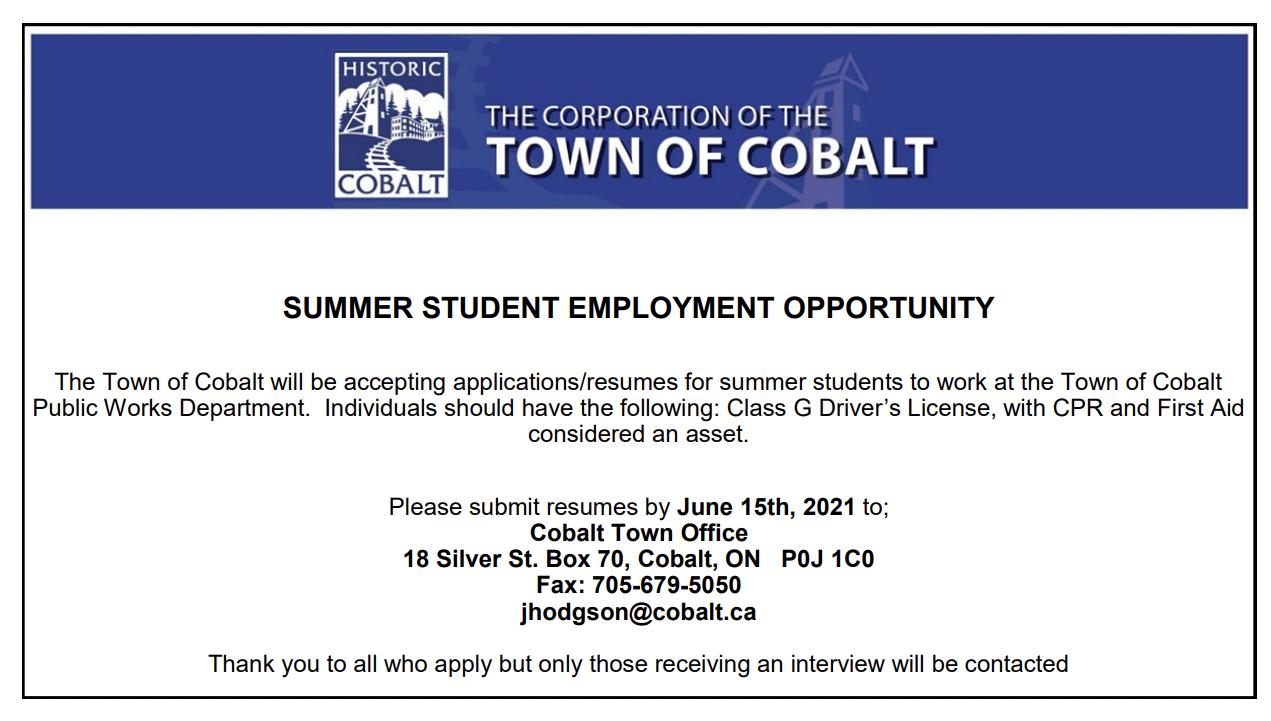 Cobalt summer student employment